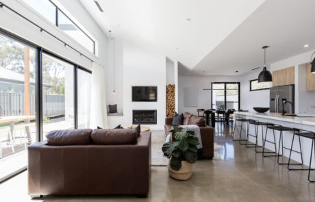 living room polished concrete